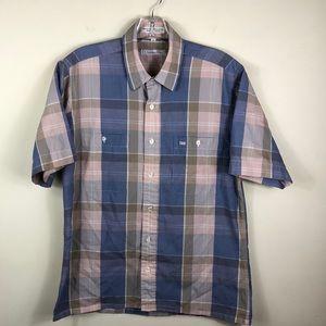 Christian Dior Pink Blue Tan Plaid S/S Shirt Med
